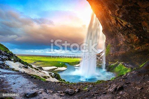Seljalandsfoss waterfall during the sunset, Beautiful waterfall in Iceland.