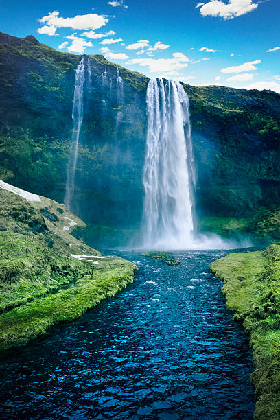 seljalandsfoss waterfall - iceland - waterfall stock photos and pictures