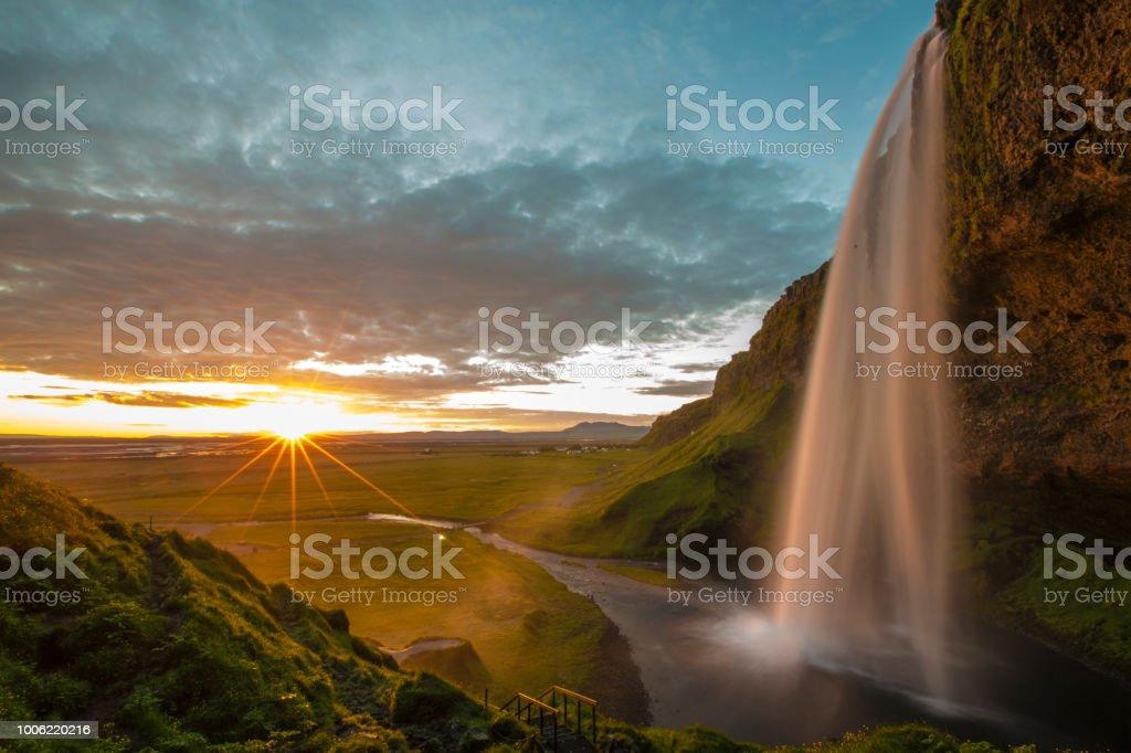 Seljalandsfoss Waterfall in Iceland stock photo