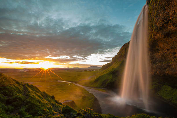 seljalandsfoss waterfall in iceland - natural landmark stock pictures, royalty-free photos & images