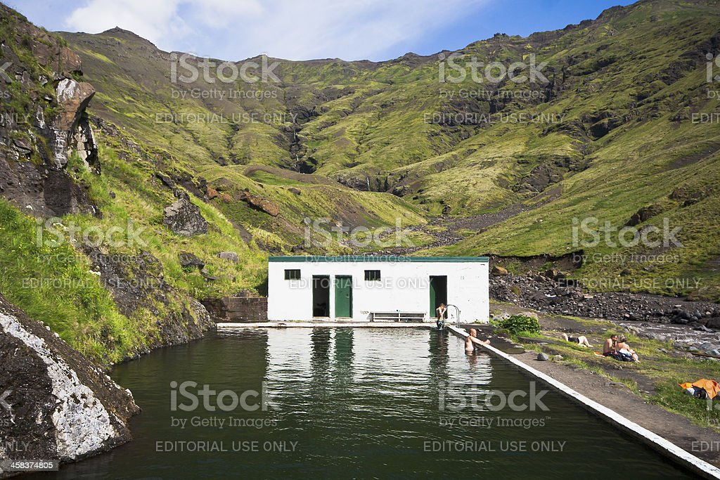 Seljavallalaug geothermal swimming pool in Iceland stock photo
