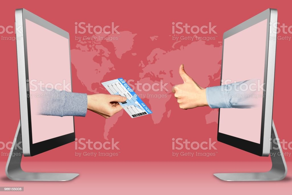 Sell air tickets concept, two hands from laptops. air ticket and thumbs up, like. 3d illustration - Foto stock royalty-free di Aeroplano