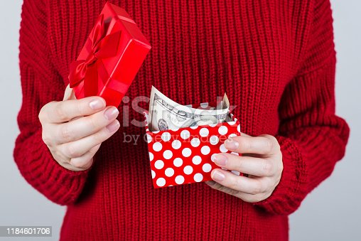 istock Sell people person charity donate income perks benefit give discount sale extra job work business entrepreneur chistmas concept. Cropped close up photo of happy lady with cash box isolated background 1184601706