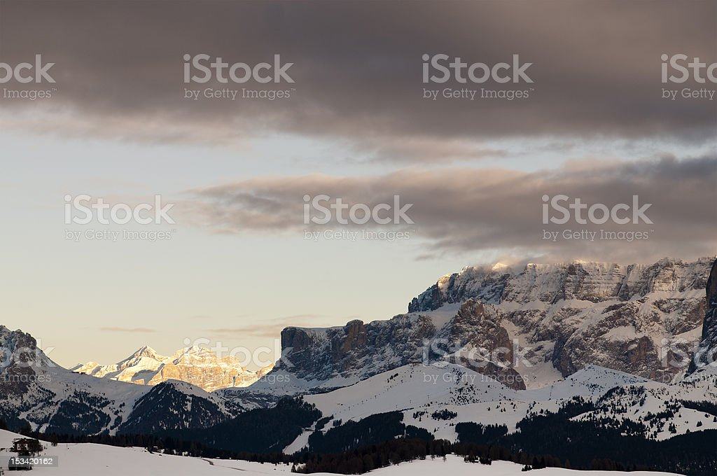 Sella Group from Seiser Alm, Dolomites, Italian Alps royalty-free stock photo