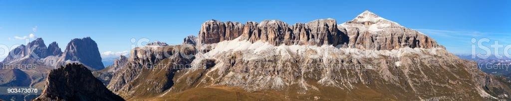 Sella Gruppe and Piz Boe, Dolomites mountains, Italy stock photo
