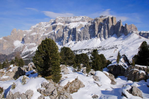 Sella Massive the Dolomites Italy at winter Sella Massive the Dolomites Italy at winter seen from the Col Rodella area pejft stock pictures, royalty-free photos & images