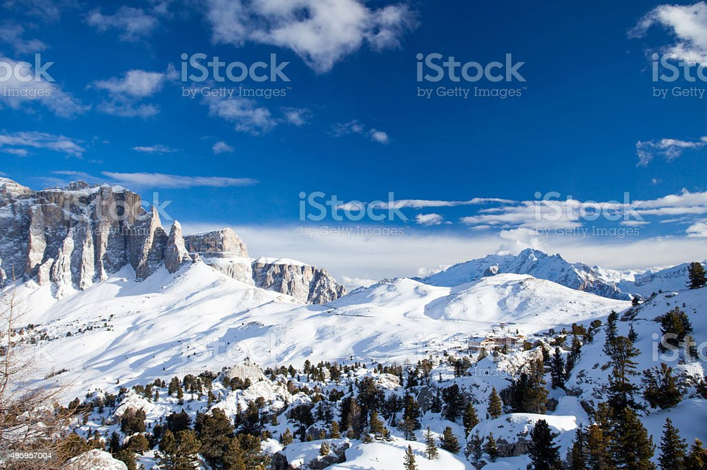 Sella Ronda mountains from Val Gardena stock photo
