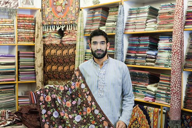 Seller of Pashmina stock photo