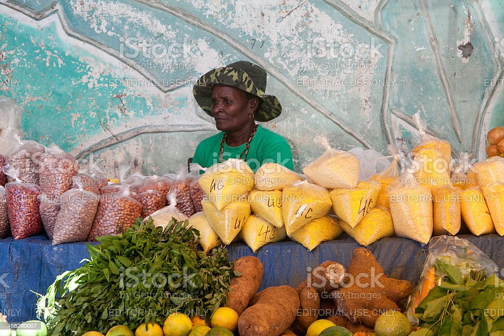 Seller of tropical fruits and exotic products stock photo
