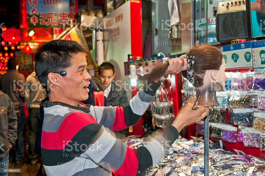 Selling Accesories for Hairstyles Beijing royalty-free stock photo