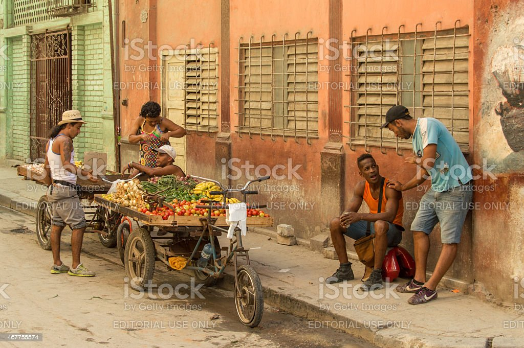 Selling agricultural products in Havanna, Cuba stock photo