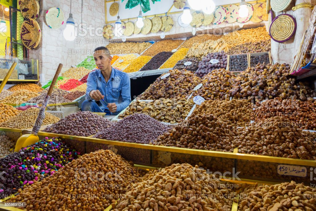 selling dried fruits Morocco stock photo