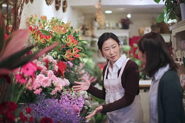 Selling flowers at  Flower shop圖像檔