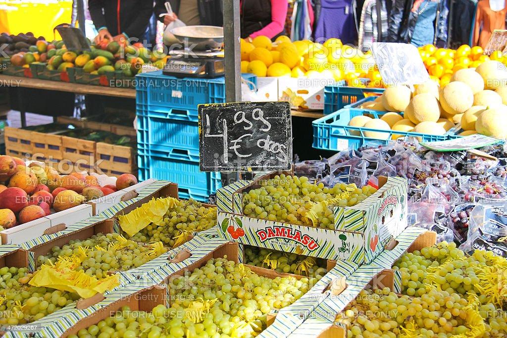 Selling fruit on the market in festive city . Dordrecht stock photo