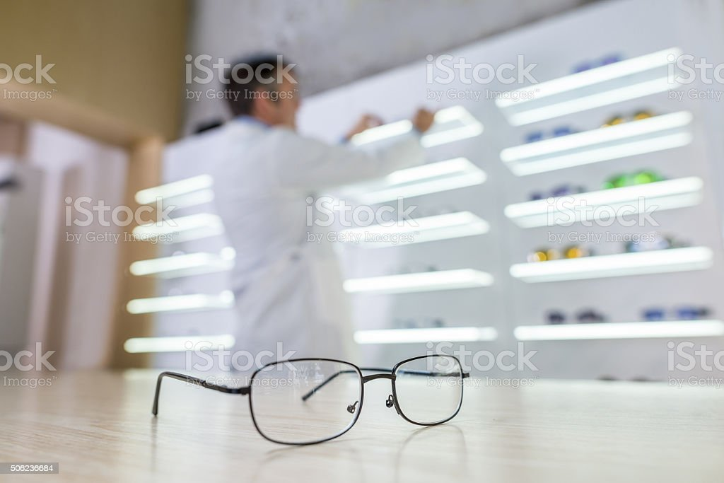 Selling glasses at an optics stock photo