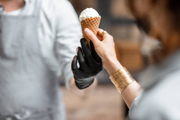 Selling ice cream in a waffle cone stock photo