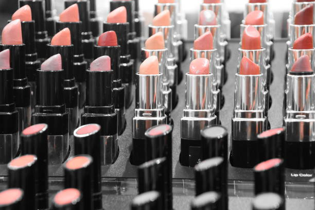 Selling makeup in the store stock photo