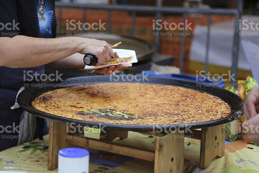 selling socca (farinata) royalty-free stock photo