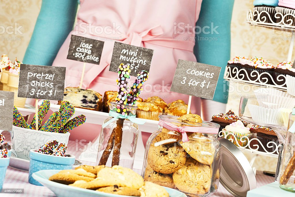 Selling Sweet Treats at Bake Sale Fundraiser royalty-free stock photo