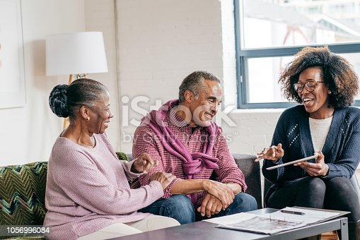 Home consultation for senior couple