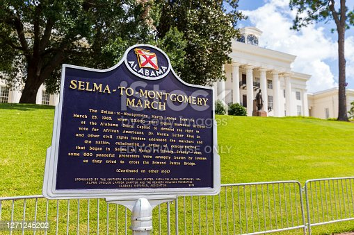 Montgomery, AL / USA - August 27, 2020: Selma To Montgomery March historical marker in front of the State Capitol in Montgomery, Alabama