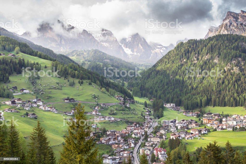 Selva village in South Tirol, Dolomites, Italy stock photo