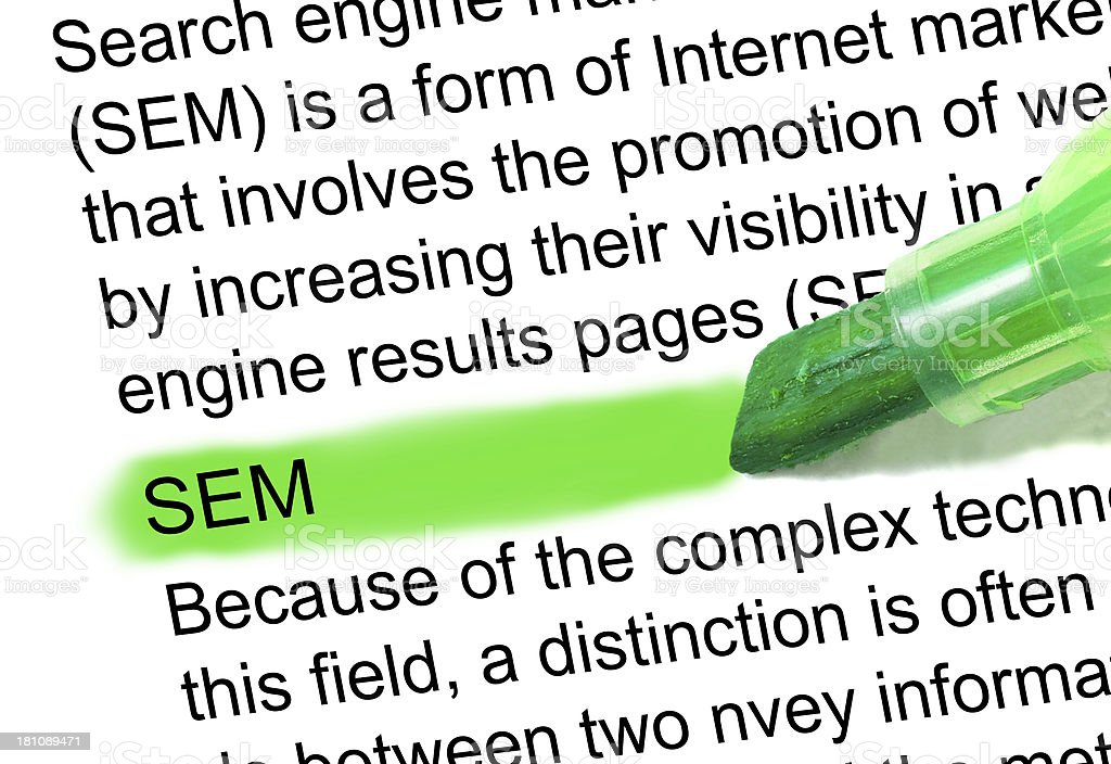 sem definition highlighted in dictionary stock photo