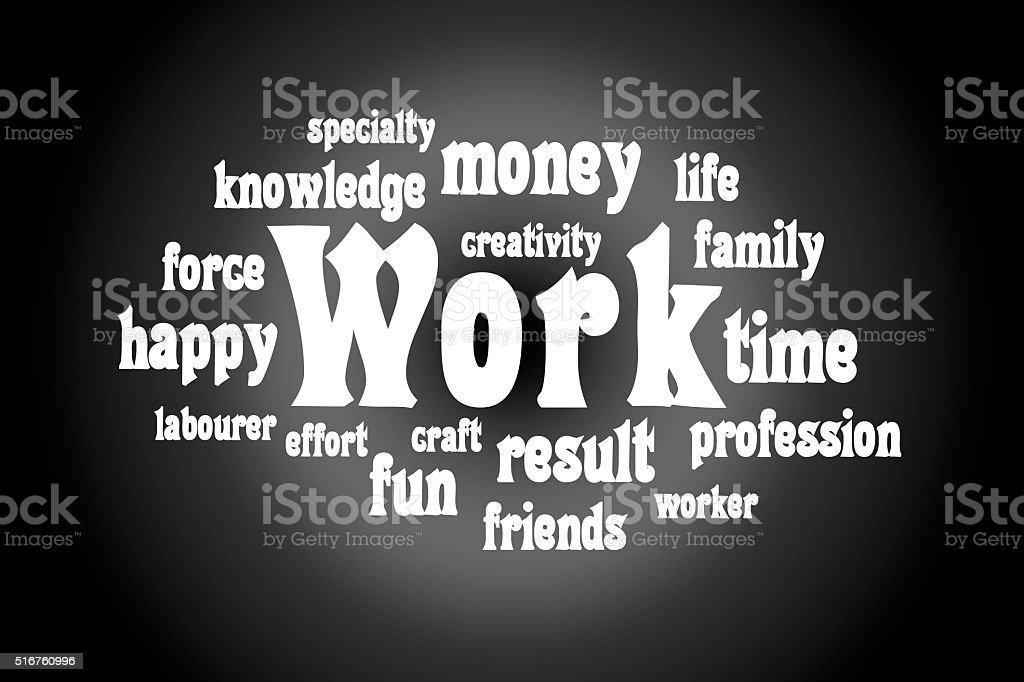 Semantic core of the word work stock photo