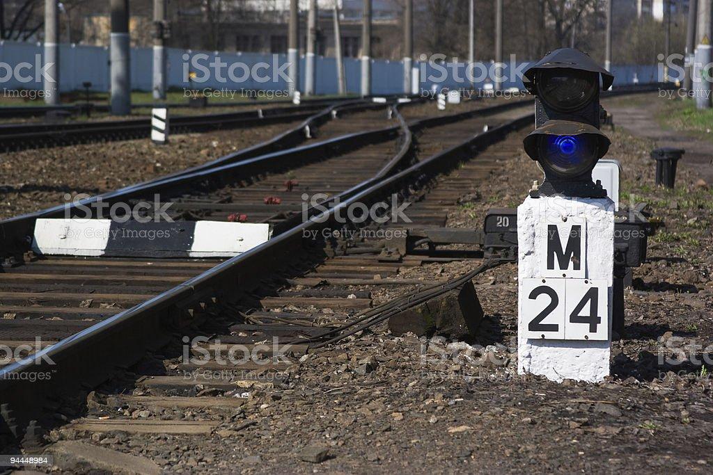semaphore on the railway royalty-free stock photo