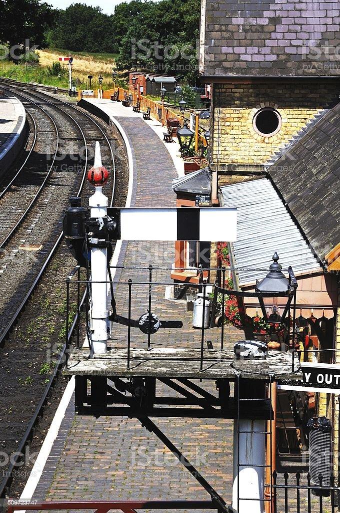 Semaphore signal at Arley Railway Station. stock photo