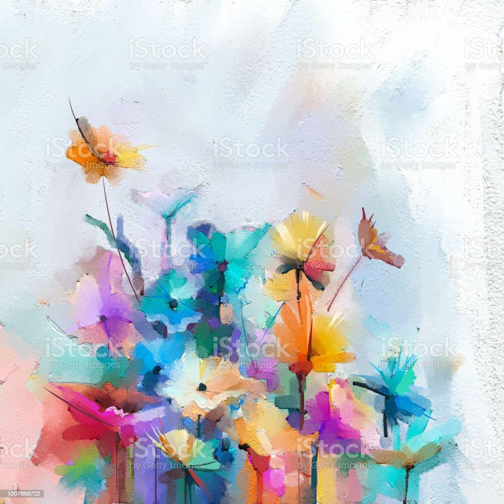 Semirésumé Image De Fleurs En Jaune Et Rouge Avec La Couleur Bleue