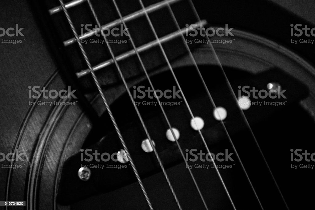 Semi acoustic guitar pick up and strings stock photo