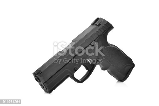 istock semi automatic 9 mm handgun pistol isolated on white background 911961264
