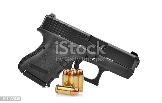 istock semi automatic 9 mm handgun pistol with ammo isolated on white background 918402936