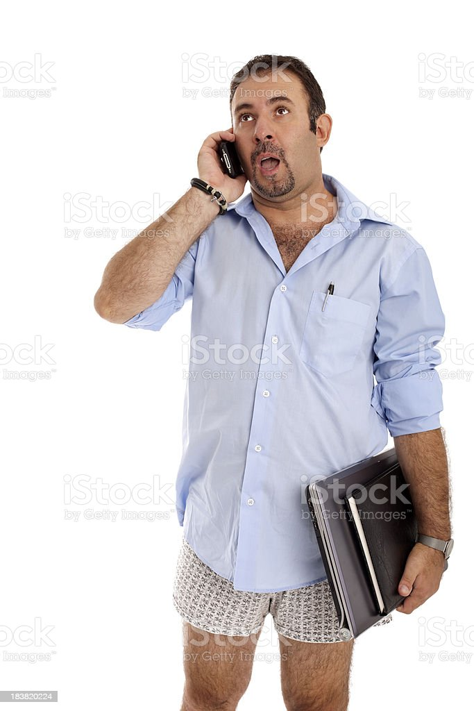 Semi Nude Man Speaking On The Phone In Shock Stock Photo  More Pictures Of 35-39 -2195