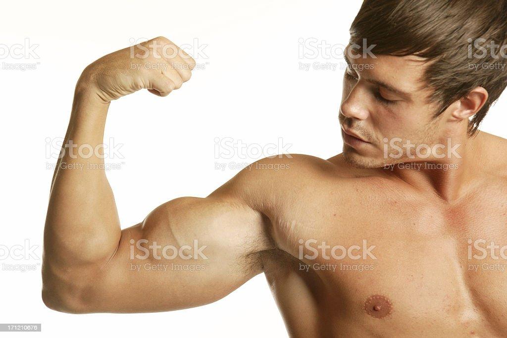 Semi nude muscle man stock photo