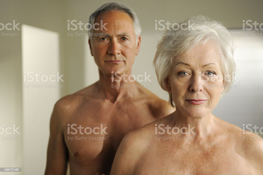 semi nude seniors stock photo
