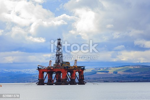 istock Semi Submersible Oil Rig at Cromarty Firth in Invergordon 525961378