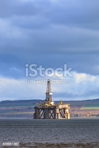 istock Semi Submersible Oil Rig at Cromarty Firth in Invergordon 525961382