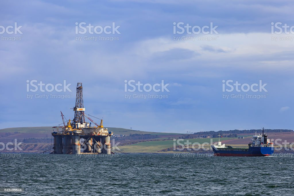Semi Submersible Oil Rig at Cromarty Firth in Invergordon stock photo