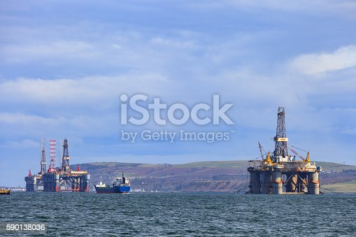 istock Semi Submersible Oil Rig at Cromarty Firth 590138036