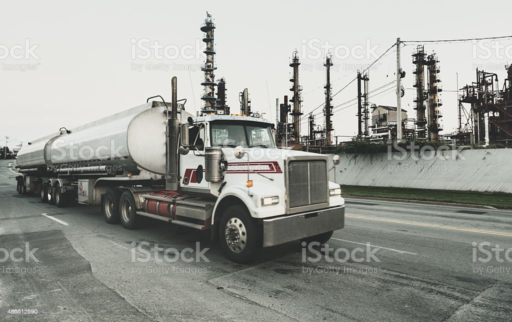 Semi Tanker Leaving Refinery stock photo