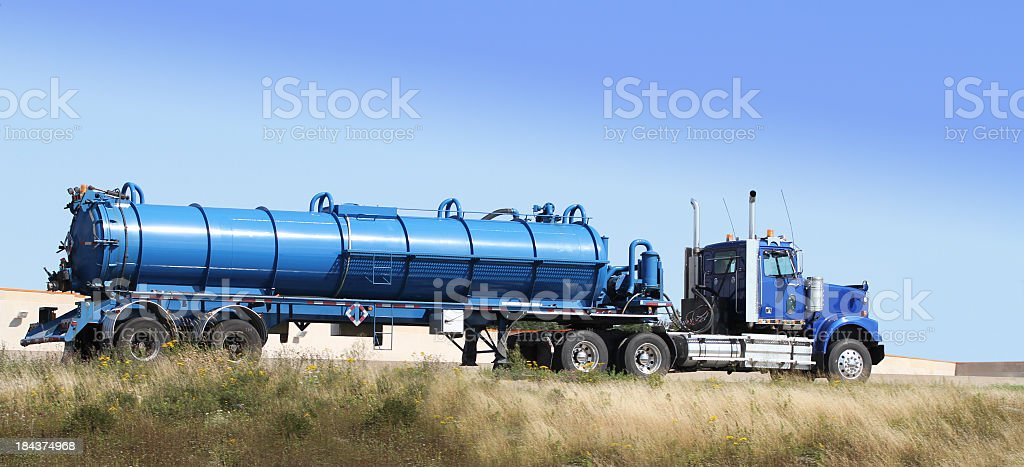 Semi Tanker Truck Hauling Sewage To A Treatment Plant stock photo
