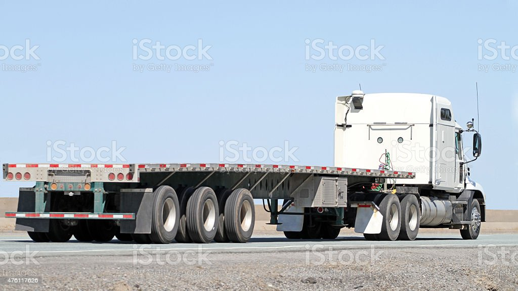 Semi Tractor Trailer Flatbed Truck With No Load On Highway Stock Photo Download Image Now Istock