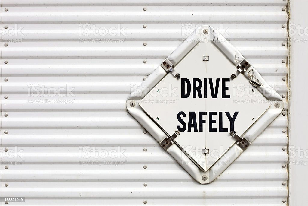 Semi Trailer Drive Safely Placard royalty-free stock photo
