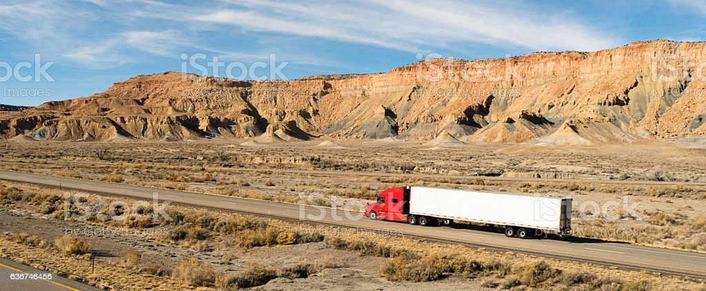 Semi Trailer Long Haul 18 Wheeler Big Rig Red Truck stock photo
