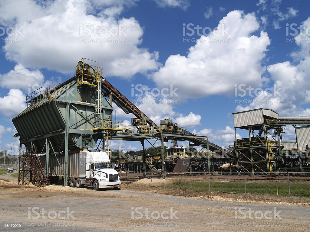 Semi Truck Being Filled With Wood Chips royalty-free stock photo