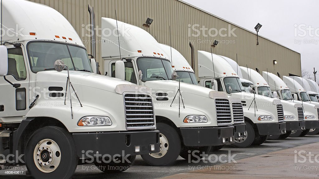 Semi Truck Cabs, In A Row stock photo