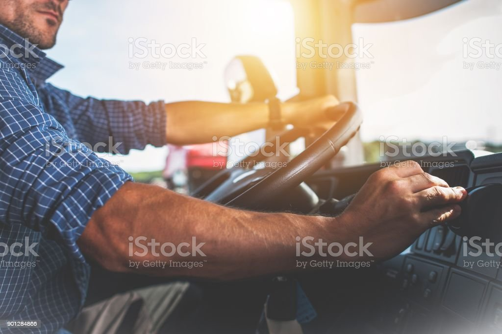 Semi Truck Driver Job stock photo