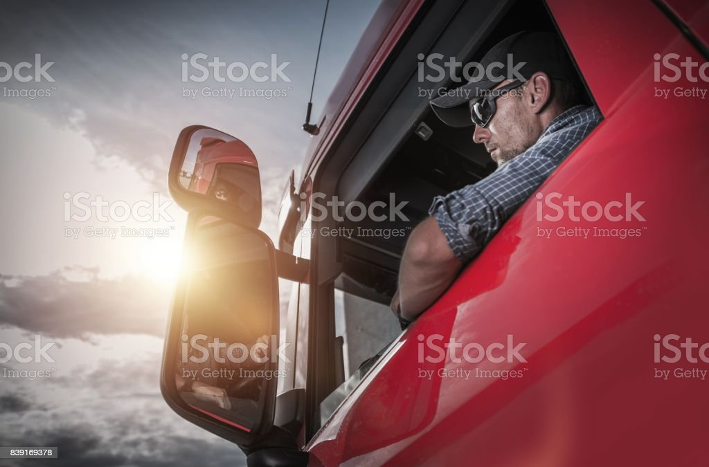 Semi Truck Driver stock photo